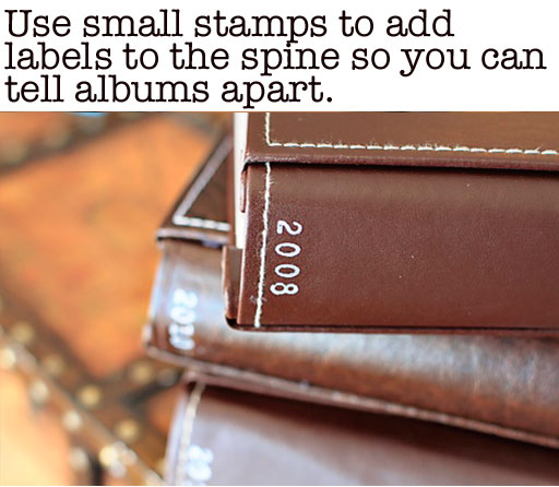 How to Label Photo Albums and Scrapbooks on the Spine via lilblueboo.com