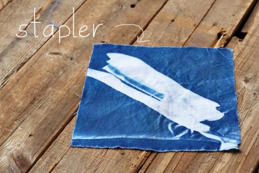 sunprint on paper or fabric (cyanotype fabric) via lilblueboo.com