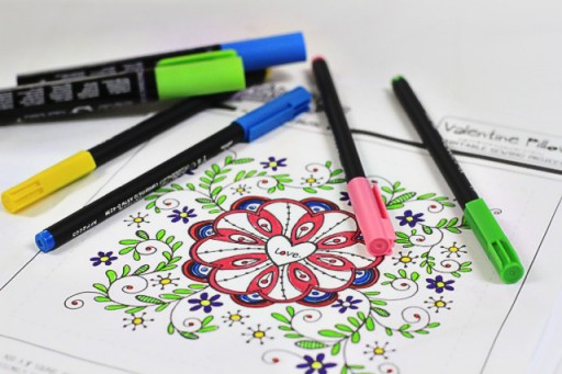 DIY Coloring Valentine's Printable via lilblueboo.com