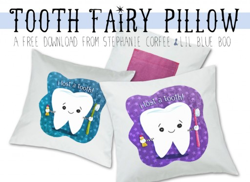 Tooth fairy pillow free printable download by Stephanie Corfee via lilblueboo.com