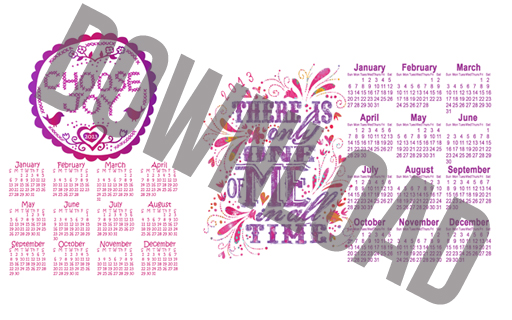 Click to Download: Only One of Me and Choose Joy Free Printable Year at a Glance Calendar via lilblueboo.com