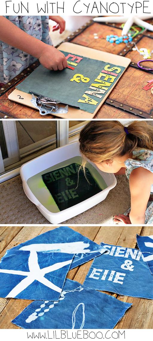 How to sun print on fabric (cyanotype) via lilblueboo.com