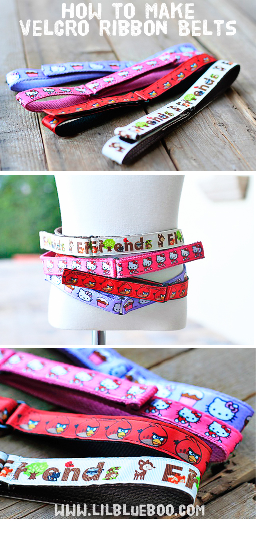 How to make ribbon velcro belts via lilblueboo.com