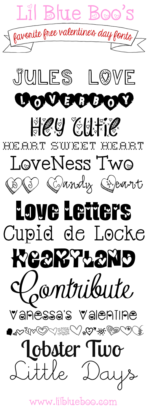 Our favorite FREE Valentine's Day fonts via lilblueboo.com