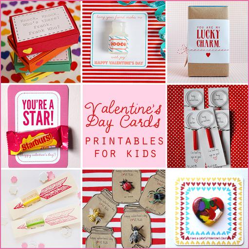 valentine's day card free printables for kids via lilblueboo.com