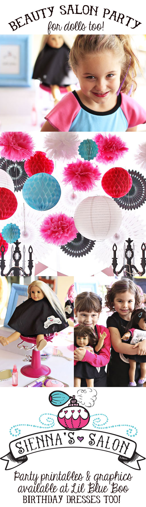 Beauty Salon Party (with American Girl Salon too!) via lilblueboo.com #americangirl #party #diy