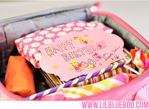 Party in {lunch} Box: Gift-Wrapped Birthday Lunch with Confetti, Party Straw etc via lilblueboo.com