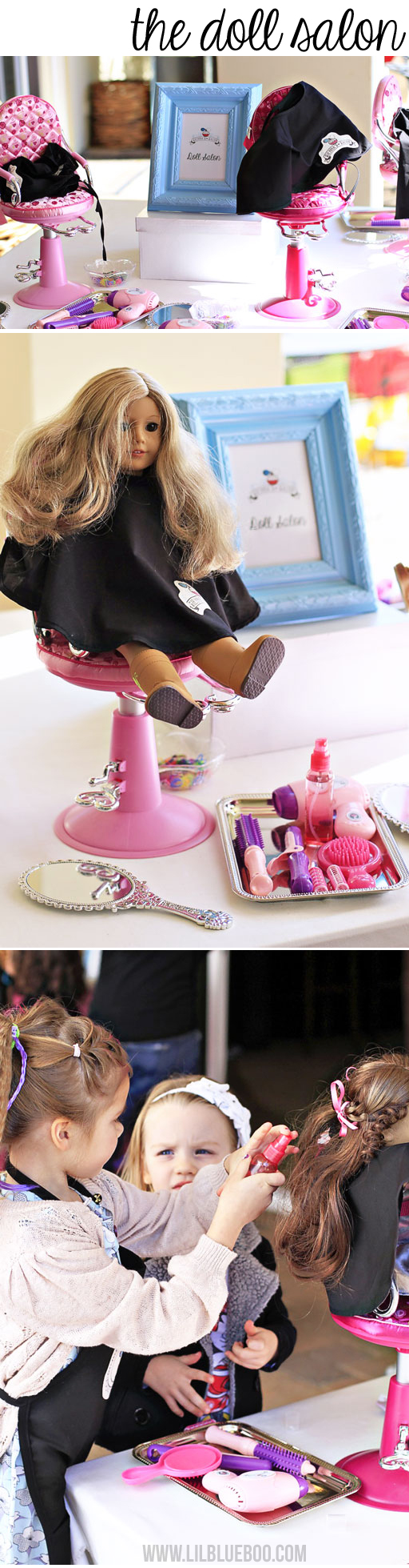 American Girl Sized Salon Party Station via lilblueboo.com #americangirl #party #diy