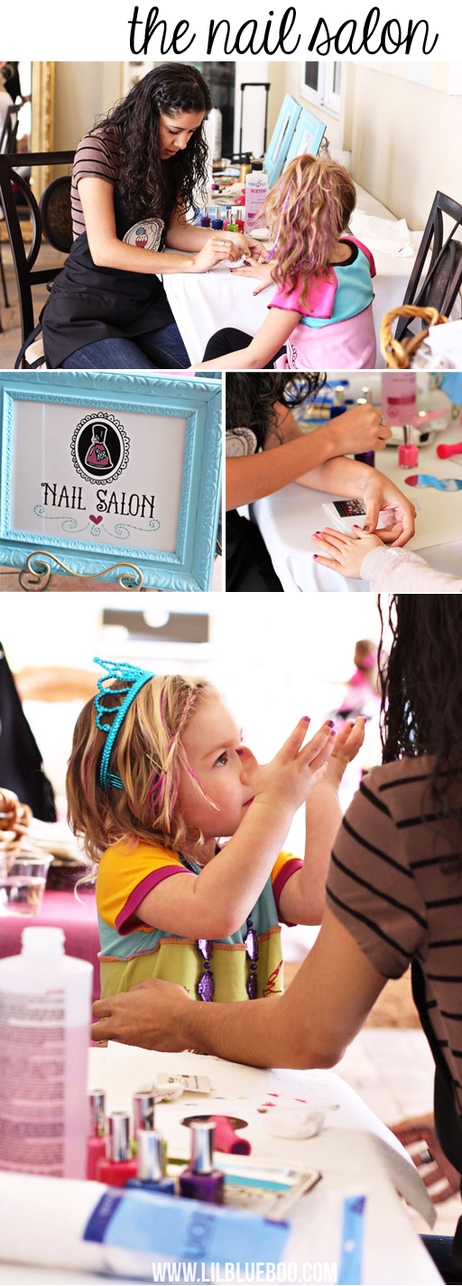 Nail (Spa Party) Salon Party Station via lilblueboo.com #americangirl #party #diy