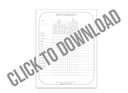 Photo Organization worksheet download via lilblueboo.com #organization #photography #tips