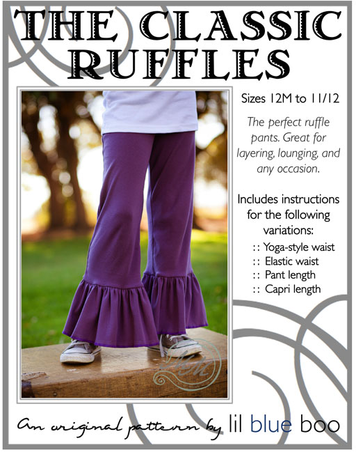 Classic Ruffle Pant PDF Sewing Pattern (American Girl size available too) by lilblueboo.com  #diy #tutorial #americangirl