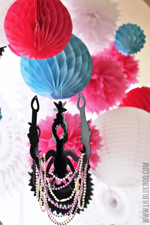 Cardboard Chandelier: Beauty Salon Party via lilblueboo.com #americangirl #party #diy
