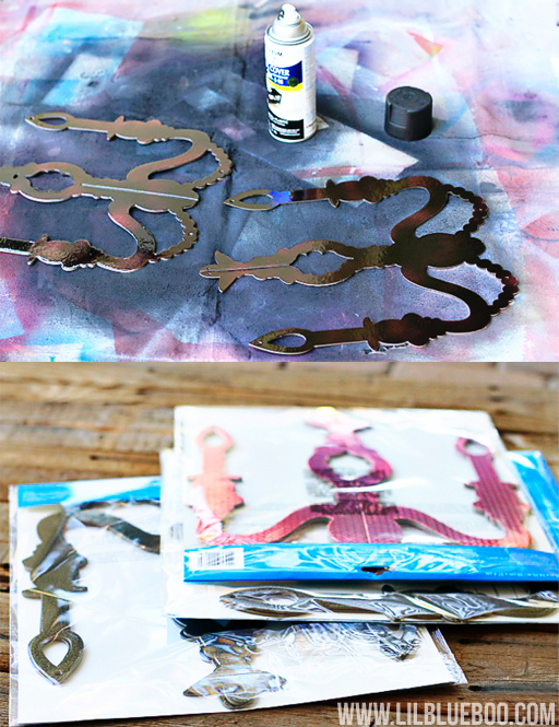 Spray Painted Chandeliers: Lil Blue Boo's Top 10 DIY Party Tips and Behind the Scenes via lilblueboo.com