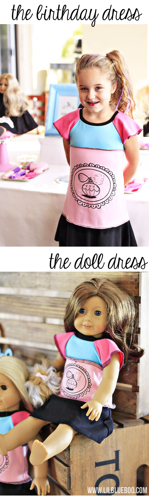 Birthday Dress with Matching American Girl Doll Dress for Salon Party via lilblueboo.com #americangirl #party #diy
