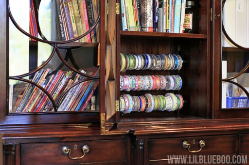 DIY ribbon storage organization rack via lilblueboo.com