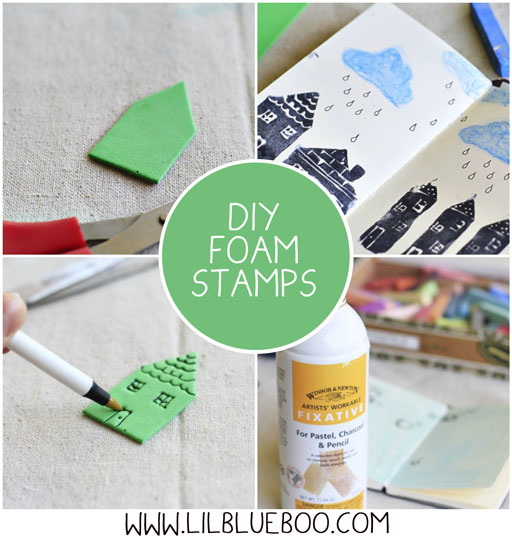 How to make DIY foam stamps via lilblueboo.com #diy #crafts #theliljournalproject #tutorial