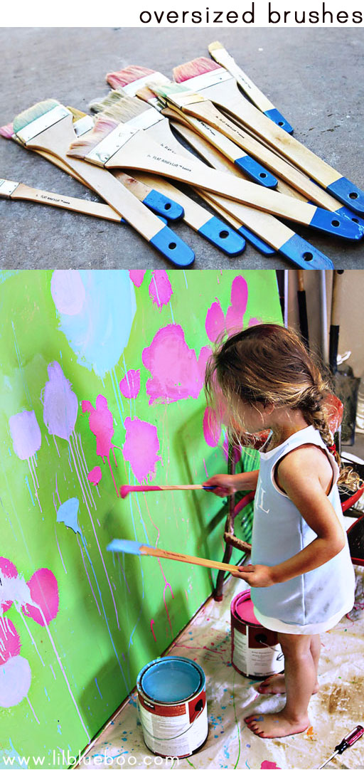 tips for painting with children (oversized brushes) via lilblueboo.com