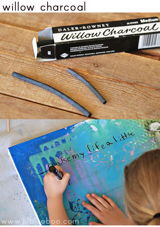 tips for painting with children (willow charcoal) via lilblueboo.com