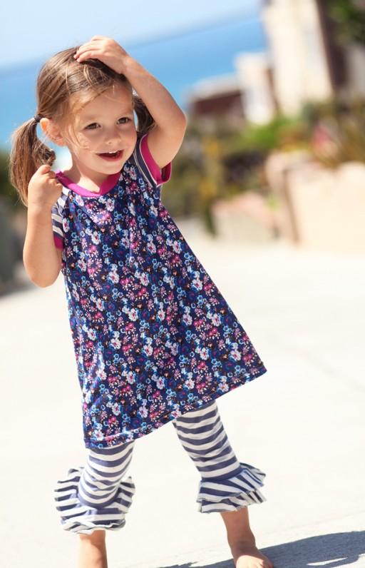 Aline Dress and Striped Double Ruffle Leggings:  Spring 2013 Dreamer Collection I via lilblueboo.com