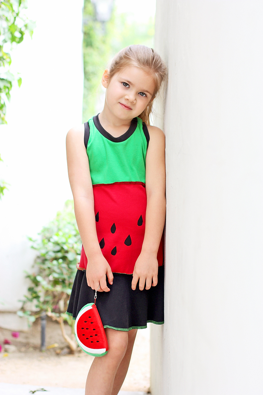 Includes a Coordinating Watermelon Coin Purse: The May 2013 Dress of the Month via lilblueboo.com
