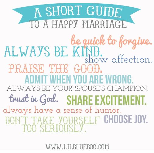 A short guide to a happy marriage via lilblueboo.com