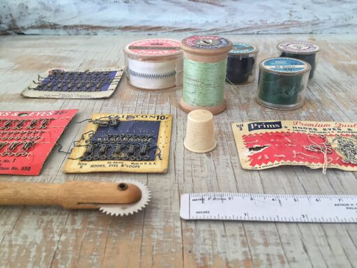 Vintage Sewing Supplies - Vintage and antique sewing supplies - old zippers and hook and eyes