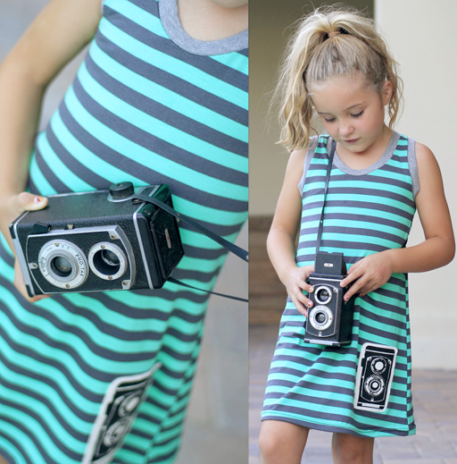 New! Vintage TLR Camera Applique Dress (limited edition) via lilblueboo.com