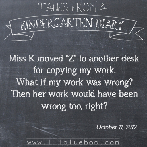 Tales from a Kindergarten Diary Entry: Copy Cat #booism via lilblueboo.com