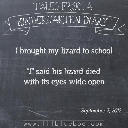 Tales from a Kindergarten Diary Entry: Lizard #booism via lilblueboo.com