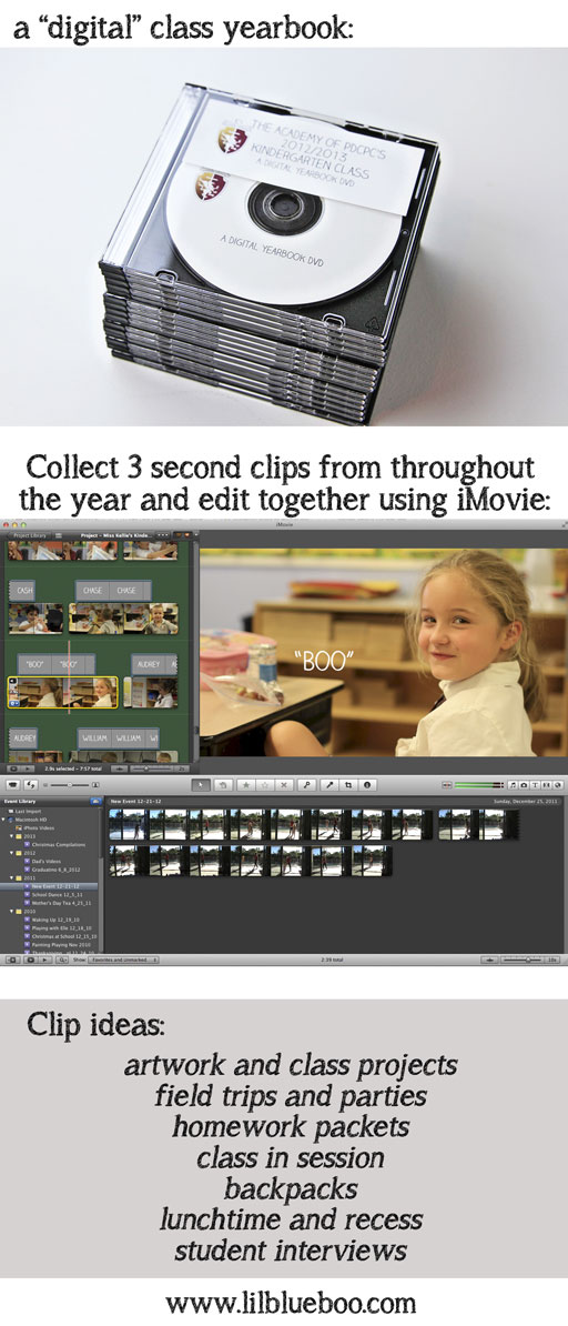 Create a digital video yearbook as a gift to the class and teachers via lilblueboo.com