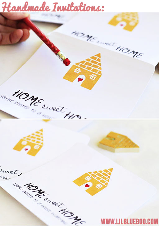 Handmade Stamped Invitations via lilblueboo.com