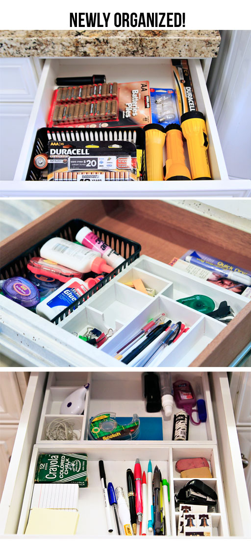 how to organize your junk drawer via lilblueboo.com #organization #organizing