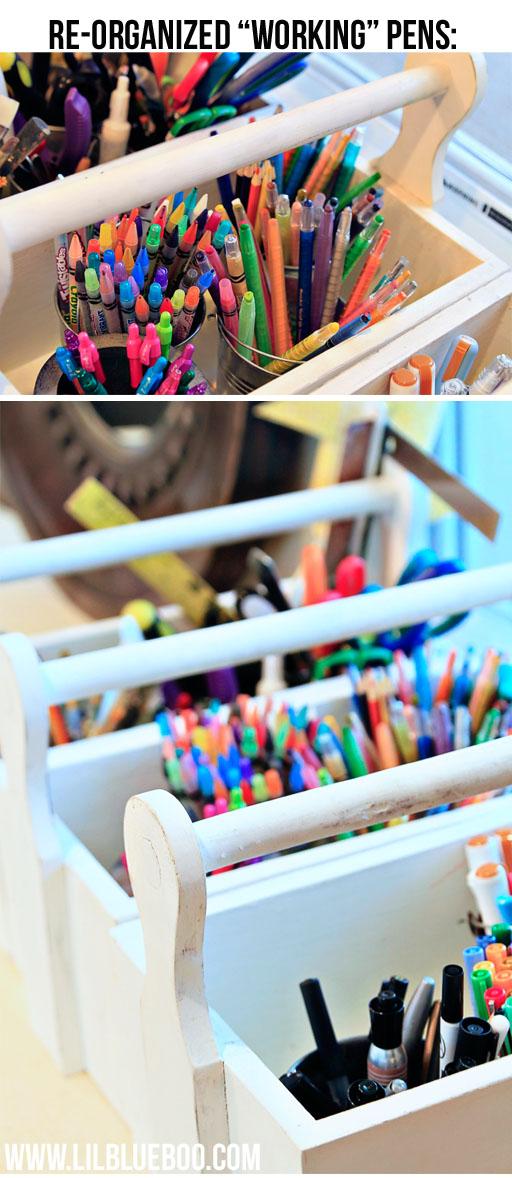 organizing art supplies via lilblueboo.com
