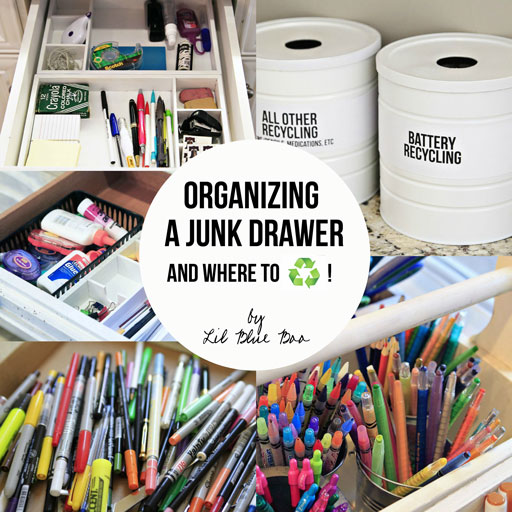 Organizing and Recycling Junk Drawer Contents via lilblueboo.com #recycle #organization #organizing #diy