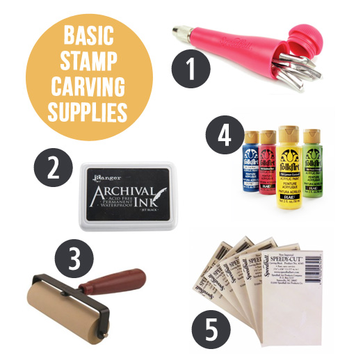 DIY Stamp Carving Supplies via lilblueboo.com #supplies #diy