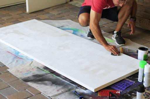 Make a large chalkboard via lilblueboo.com