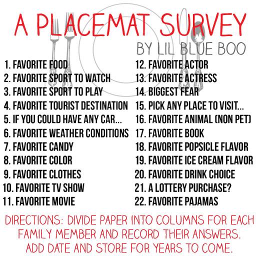 A Placemat Survey via lilblueboo.com (fun family activity for restaurants)