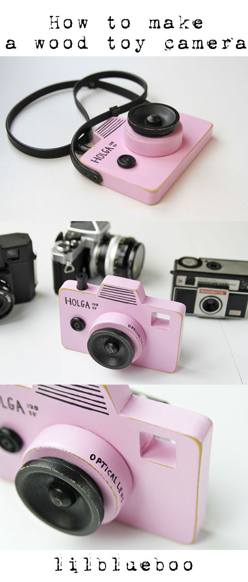 How to make DIY wood toy camera via lilblueboo.com #tutorial #diy #wood #toy