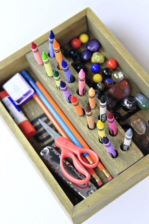 how to organize kids supplies via lilblueboo.com