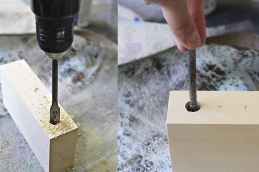 how to bore a hole into wood block via lilblueboo.com