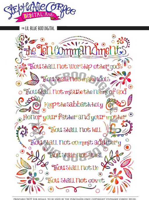 Printable Ten Commandments List For Kids Ten commandments print