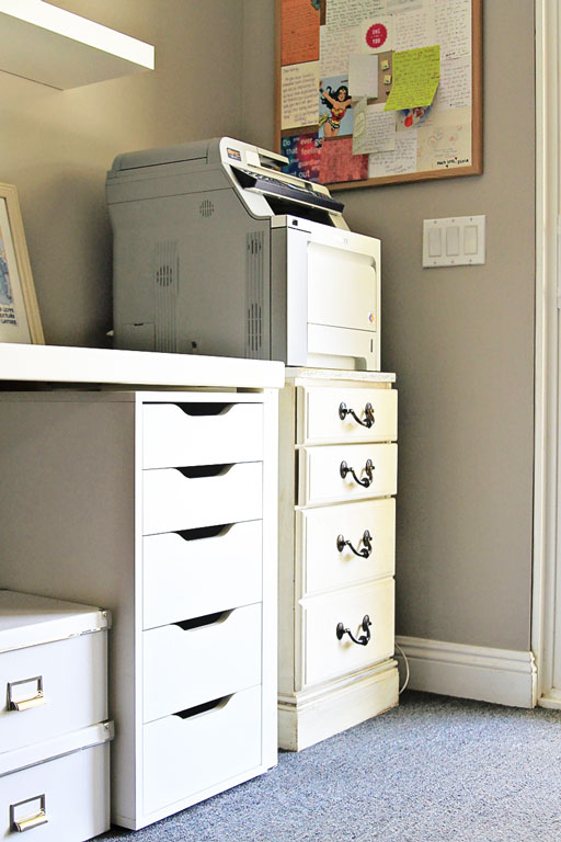 Office Printer Supply Storage DIY via lilblueboo.com #decor #office #diy #homedecor #organization #thrifting