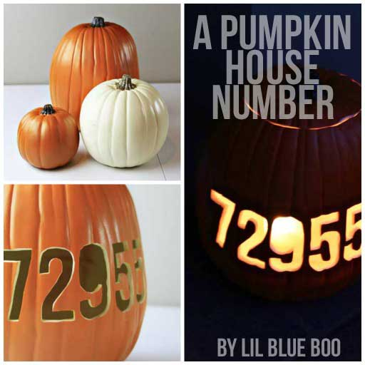 Carving a House Number into a Pumpkin via lilblueboo.com #pumpkins #mpumpkins #halloween