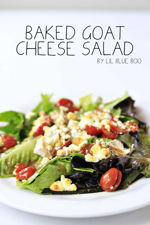 Baked Goat Cheese Salad via lilblueboo.com #recipe #appetizer #salad