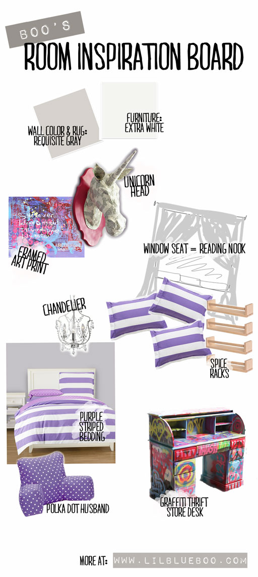 Boo's Extreme Room Makeover: Girl Room Ideas on a budget (Boo's purple stripe inspired room with DIY ideas) via lilblueboo.com