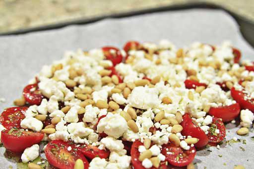 Grape tomatoes, Goat Cheese, Pine Nuts via lilblueboo.com #recipe