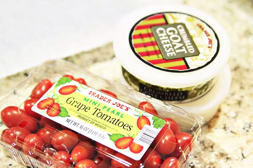 grape tomatoes and goat cheese from Trader Joe's via lilblueboo.com