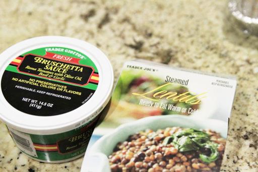 just 2 ingredients: bruschetta sauce and lentils via lilblueboo.com