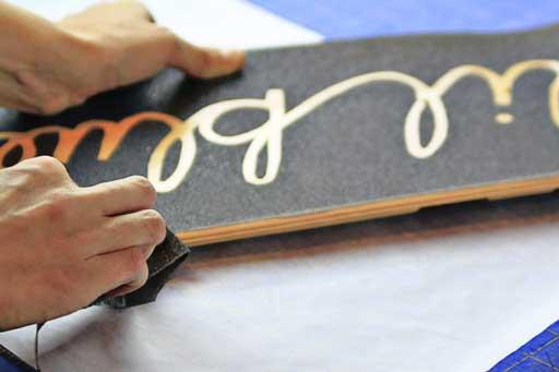 How to sand a skateboard deck  via lilblueboo.com #skateboard #diy #gift #handmade