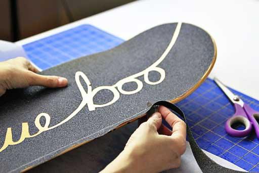 How to cut grip tape edge easily on skateboard or long board  via lilblueboo.com #skateboard #diy #gift #handmade